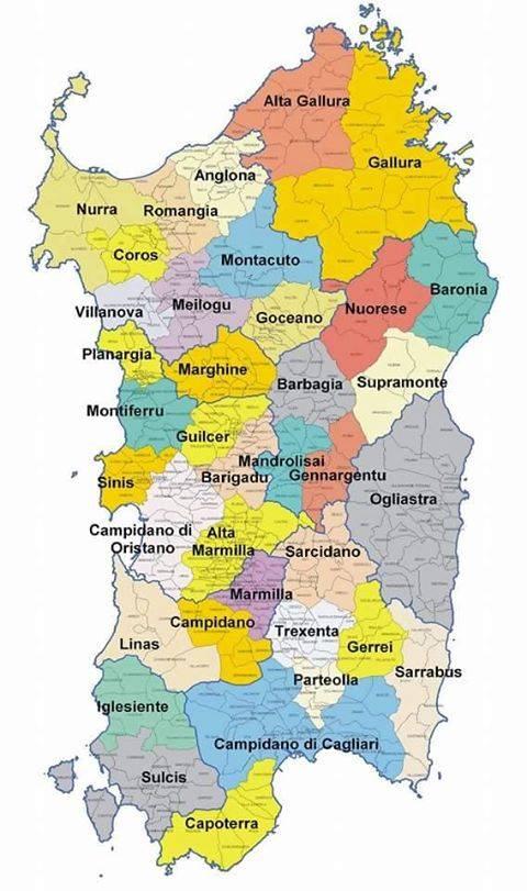 Cartina politica della Sardegna